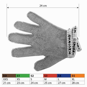 Short type Chain Mail Stainless Steel Gloves